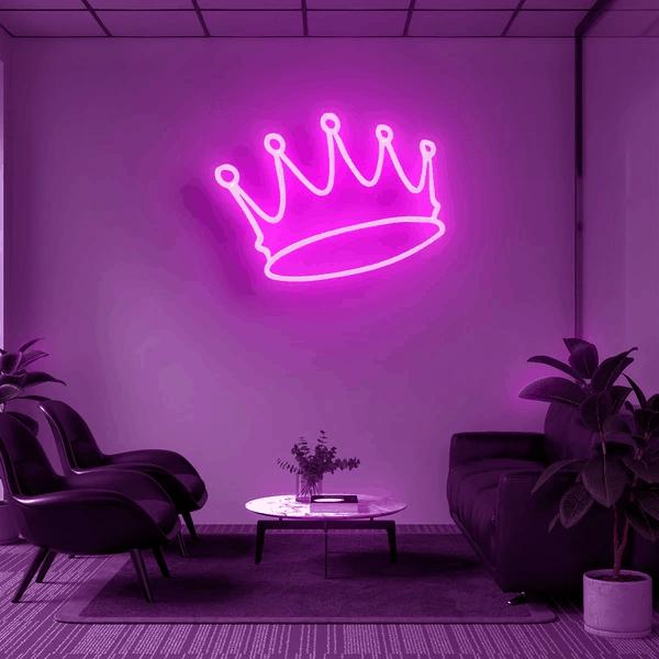 Неоновая вывеска корона (розовая)